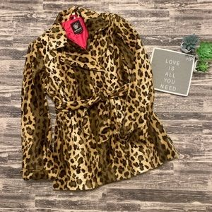 Dollhouse Double Breasted Leopard Print Pea Coat
